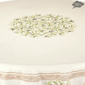 "70"" Round Clos des Oliviers Cream Coated Cotton Tablecloth"