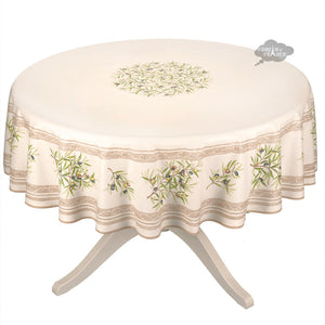 "70"" Round Clos des Oliviers Cream Cotton Tablecloth by l'Ensoleillade"