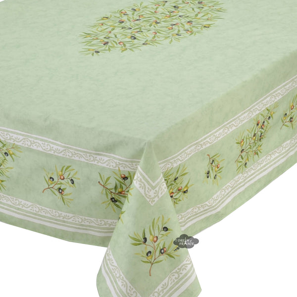 "60x78"" Rectangular Clos des Oliviers Green Coated Cotton Tablecloth"