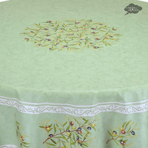 "70"" Round Clos des Oliviers Green Coated Cotton Tablecloth Close Up"