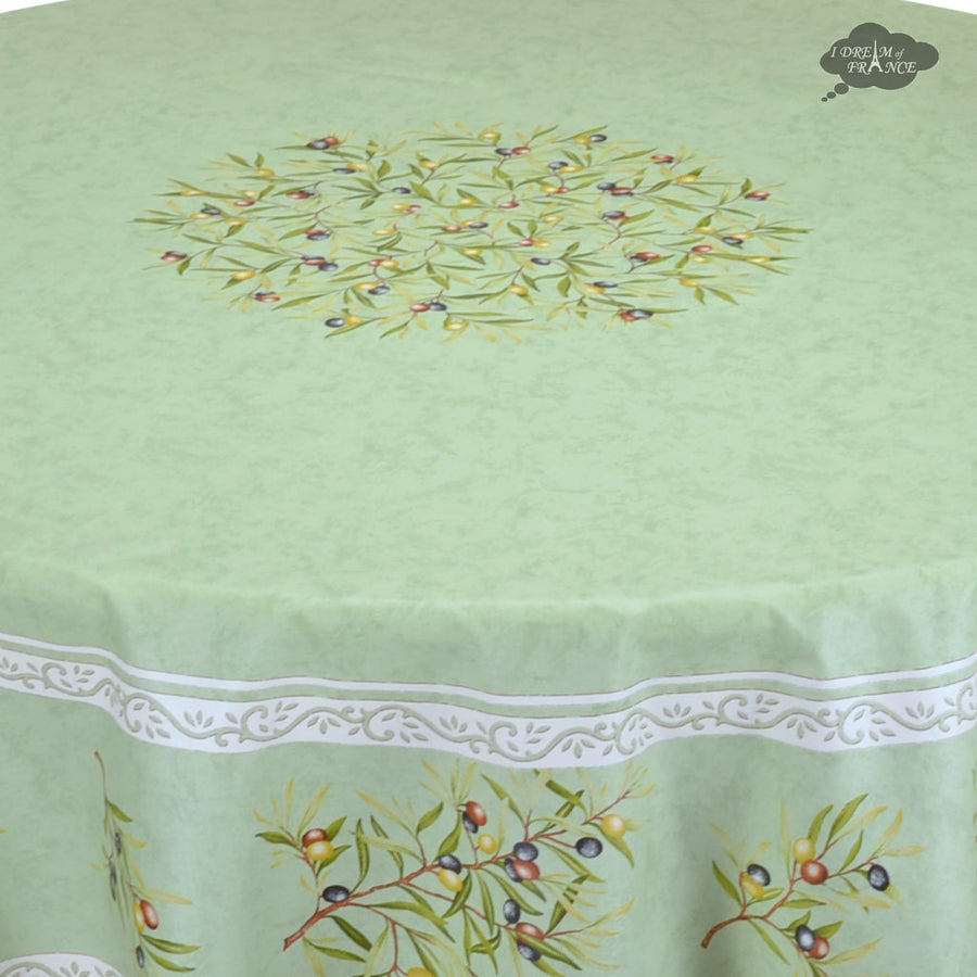 "70"" Round Clos des Oliviers Green Coated Cotton Tablecloth by Tissus Toselli"