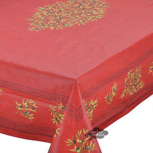 "60x 96"" Rectangular Clos des Oliviers Red Coated Cotton Tablecloth by l'Ensoleillade"