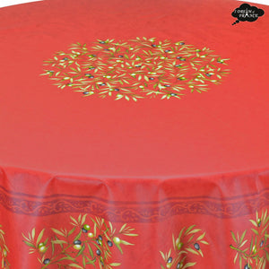 "70"" Round Clos des Oliviers Red Coated Cotton Tablecloth by Tissus Toselli"