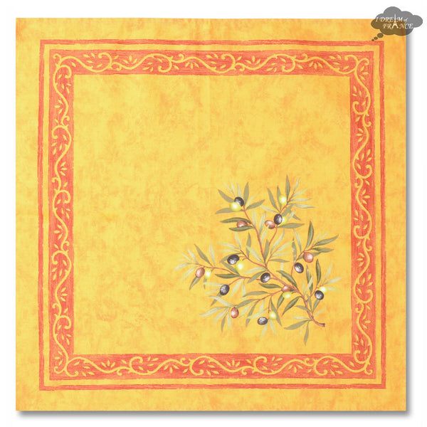 Clos des Oliviers Yellow Provence Cotton Napkin by Tissus Toselli
