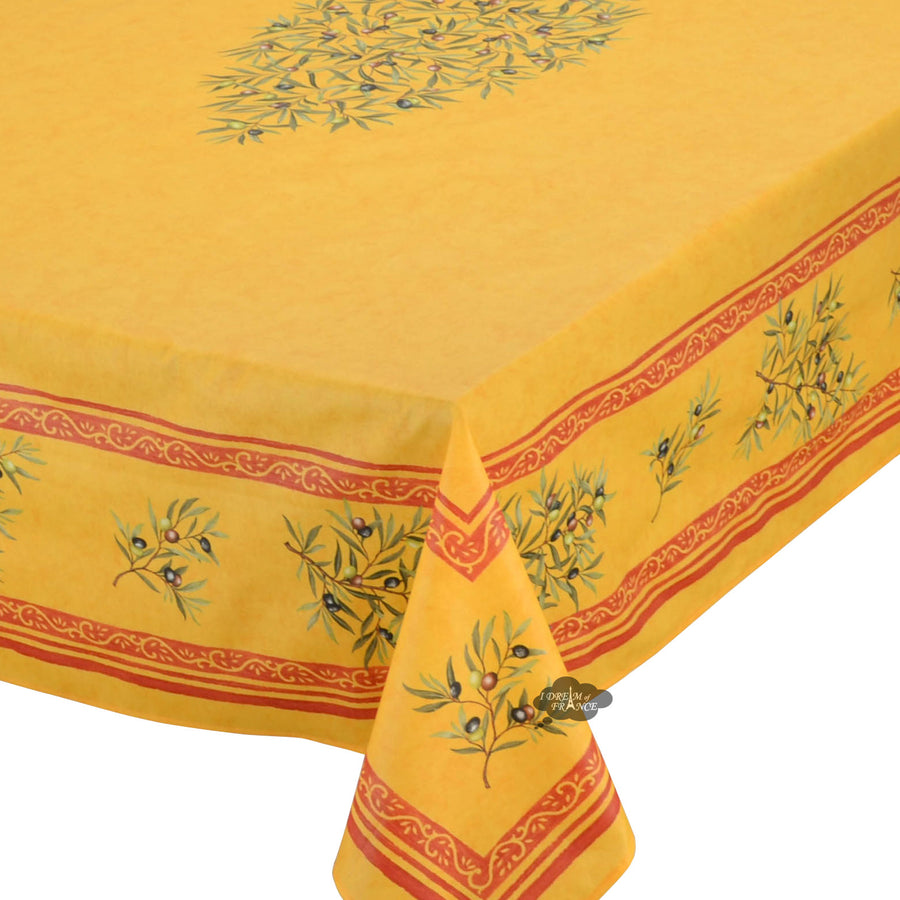"60x78"" Rectangular Clos des Oliviers Yellow Coated Cotton Tablecloth"