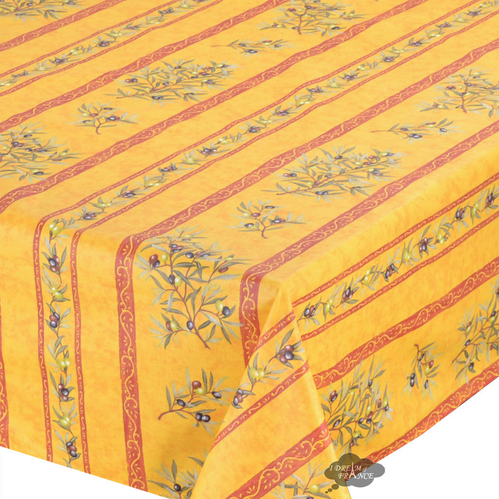 "60x120"" Rectangular Clos des Oliviers Yellow Coated Cotton Tablecloth - Close Up"