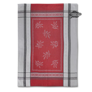 Olivia Gray & Red Cotton Jacquard Dish Towel by Tissus Toselli