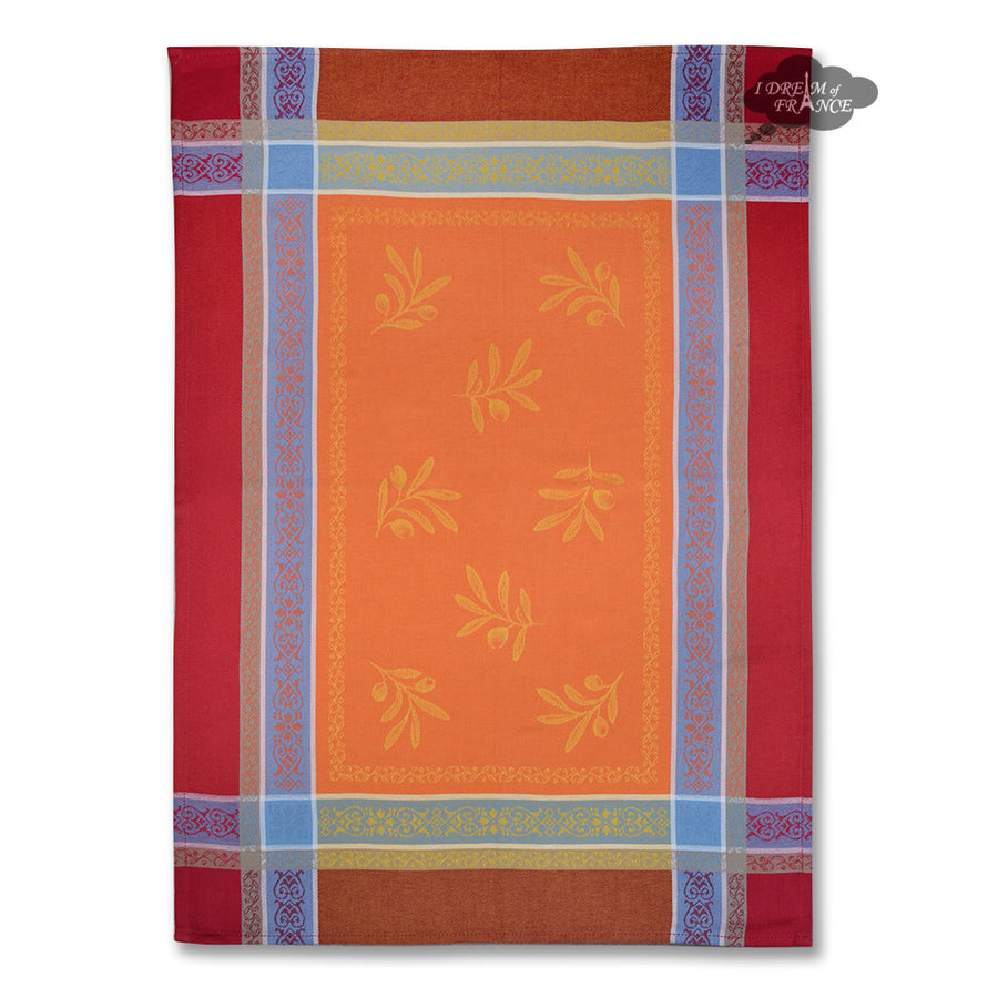 Olivia Red & Orange Cotton Jacquard Dish Towel by Tissus Toselli
