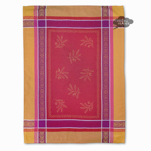Olivia Yellow & Red Cotton Jacquard Dish Towel by Tissus Toselli