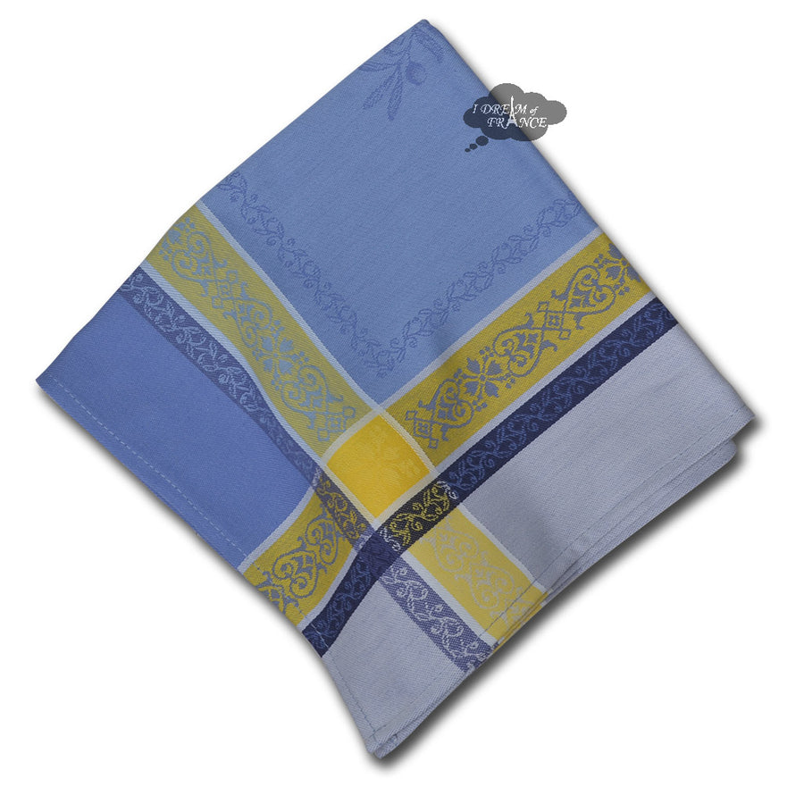 Olivia Blue & Yellow French Cotton Jacquard Napkin