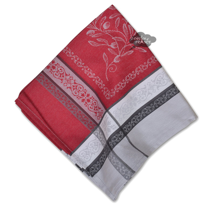 Olivia Gray & Red French Cotton Jacquard Napkin by Tissus Toselli