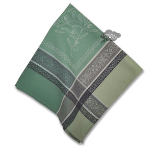 Olivia Green French Cotton Jacquard Napkin by Tissus Toselli