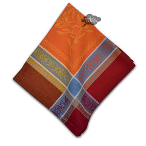 Olivia Red & Orange French Cotton Jacquard Napkin by Tissus Toselli