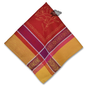 Olivia Yellow & Red French Cotton Jacquard Napkin by Tissus Toselli