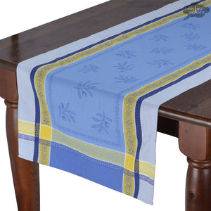 "20x64"" Olivia Blue & Yellow Jacquard Cotton Table Runner by Tissus Toselli"