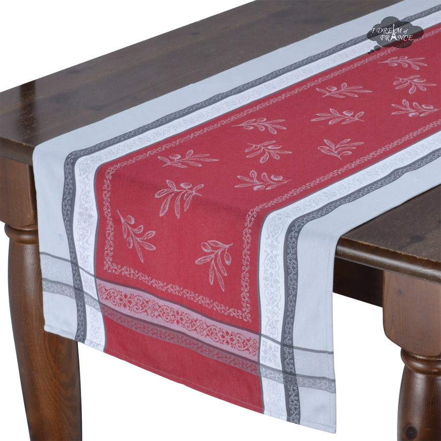 "20x64"" Olivia Gray & Red Jacquard Cotton Table Runner by Tissus Toselli"