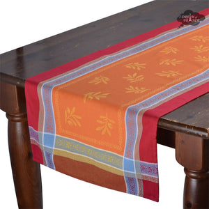 "20x64"" Olivia Red & Orange Jacquard Cotton Table Runner by Tissus Toselli"