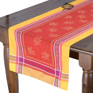 "20x64"" Olivia Yellow & Red Jacquard Cotton Table Runner by Tissus Toselli"