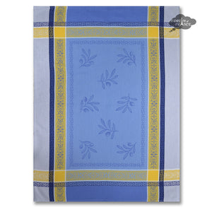 Olivea Blue & Yellow Cotton Jacquard Dish Towel by Tissus Toselli