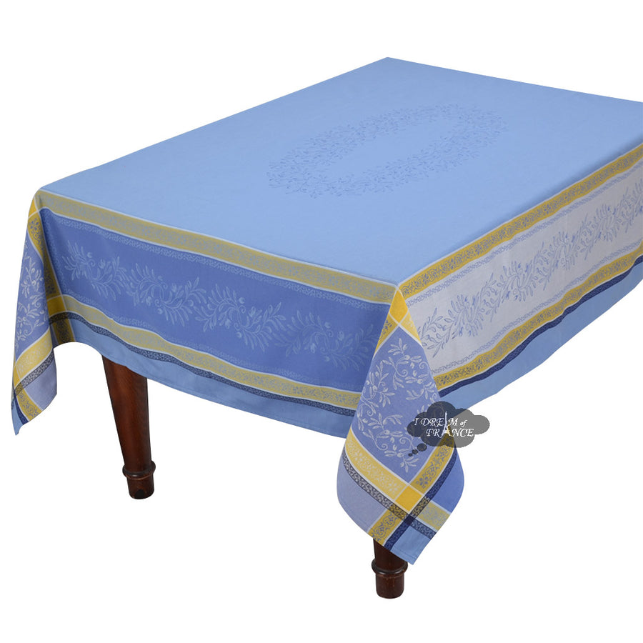 "62x120"" Rectangular Olivia Blue & Yellow Jacquard Tablecloth with Teflon"