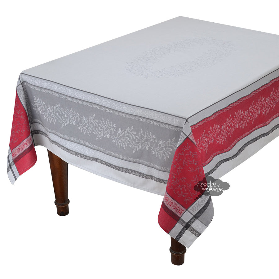 "62"" Square Olivia Gray & Red French Jacquard Tablecloth by Tissus Toselli"