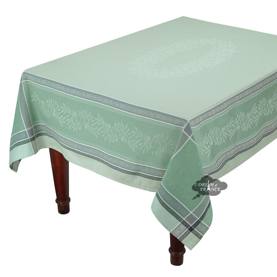 "62x138"" Rectangular Olivia Green Jacquard Tablecloth with Teflon"