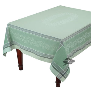 "62x120"" Rectangular Olivia Green Jacquard Tablecloth with Teflon"