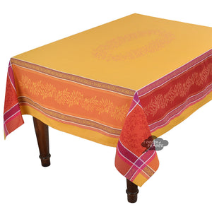 "62"" Square Olivia Yellow & Red French Jacquard Tablecloth with Teflon"