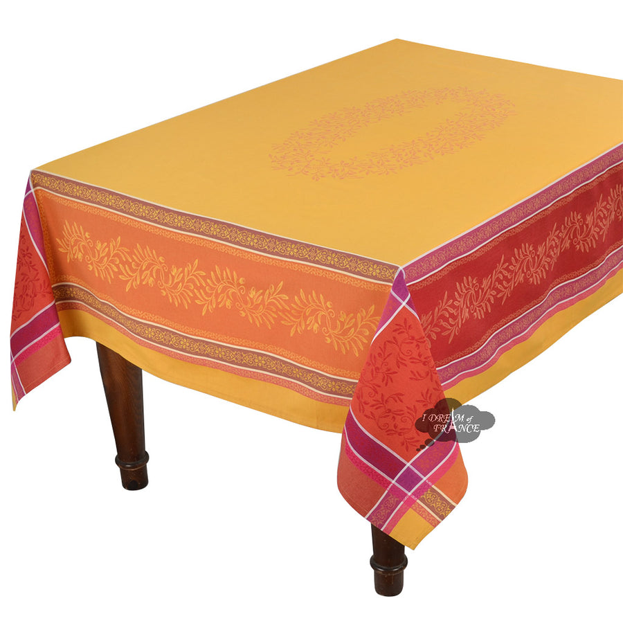 "62x120"" Rectangular Olivia Yellow & Red Jacquard Tablecloth with Teflon"