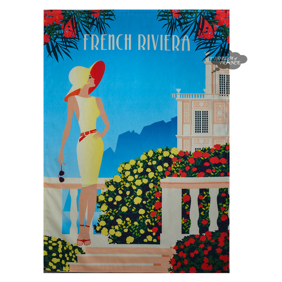 French Riviera French Cotton Kitchen Towel by Tissus Toselli