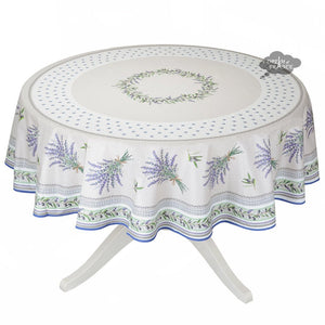 "70"" Lauris Coated Cotton Tablecloth by Tissus Toselli"