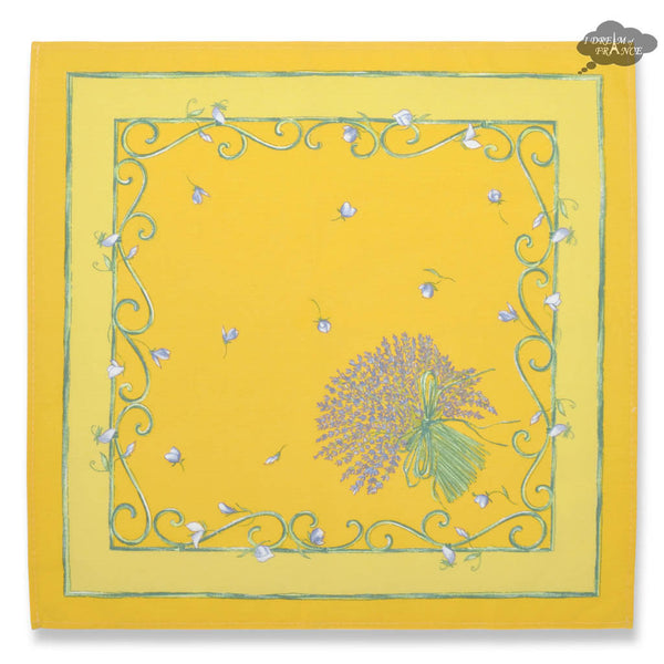Lavender Bouquet Yellow Provence Cotton Napkin by Tissus Toselli