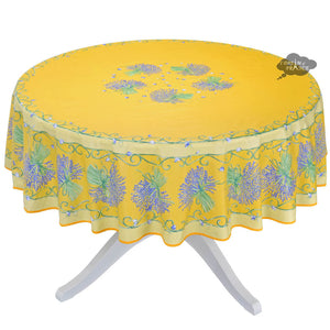 "70"" Round Lavender Bouquet Yellow Coated Cotton Tablecloth by Tissus Toselli"