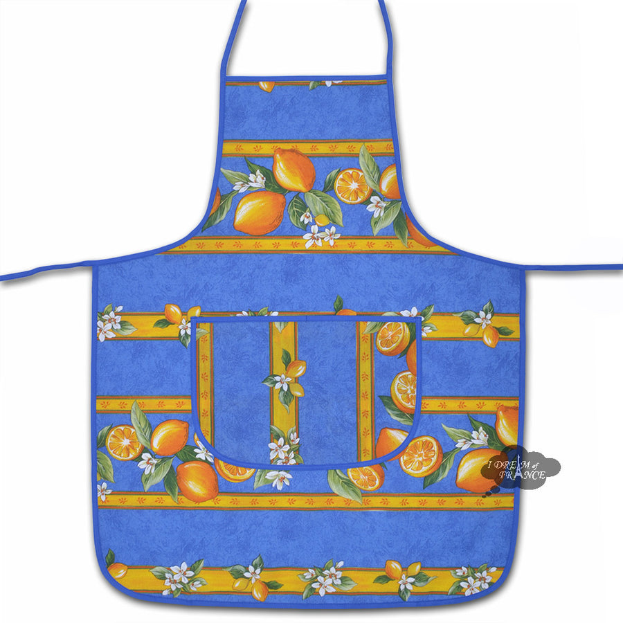 Lemons Blue Cotton Kitchen Apron by Tissus Toselli