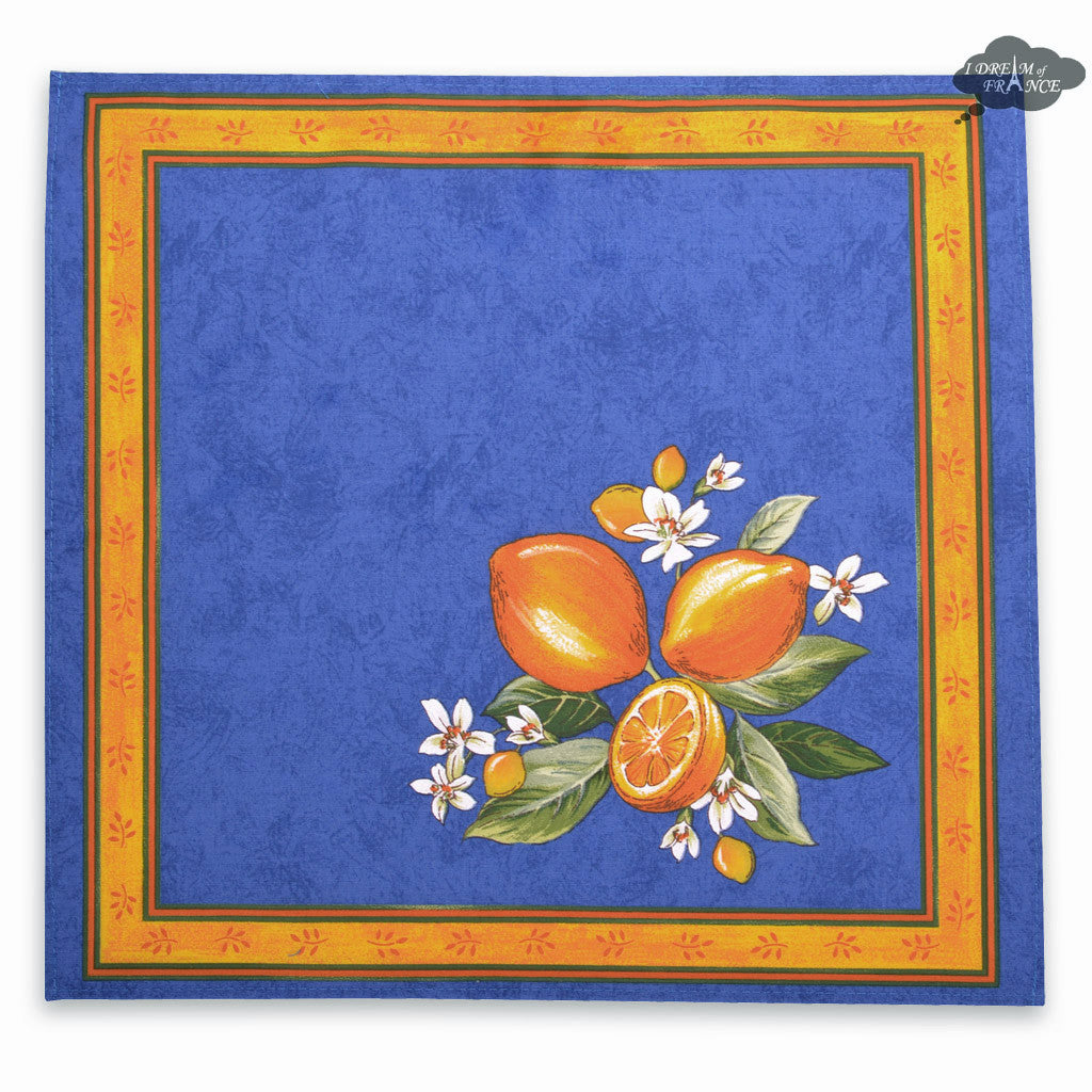 Lemons Blue Provence Cotton Napkin by Tissus Toselli