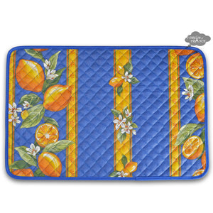 Lemons Blue Acrylic Coated Quilted Placemats by Tissus Toselli