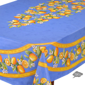 "60x 96"" Rectangular Lemons Blue Coated Cotton Tablecloth by Tissus Toselli"