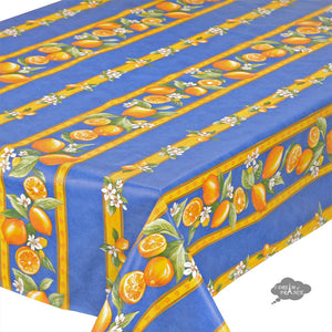 "60x120"" Rectangular Lemons Blue Acrylic Coated Cotton Tablecloth - Close Up"