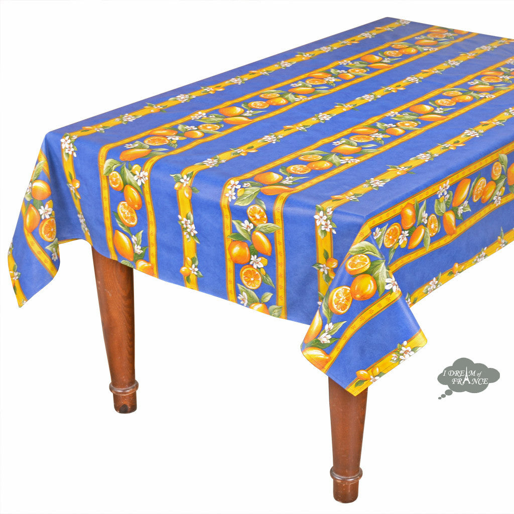 "60x78"" Rectangular Lemons Blue Acrylic Coated Cotton Tablecloth by Tissus Toselli"