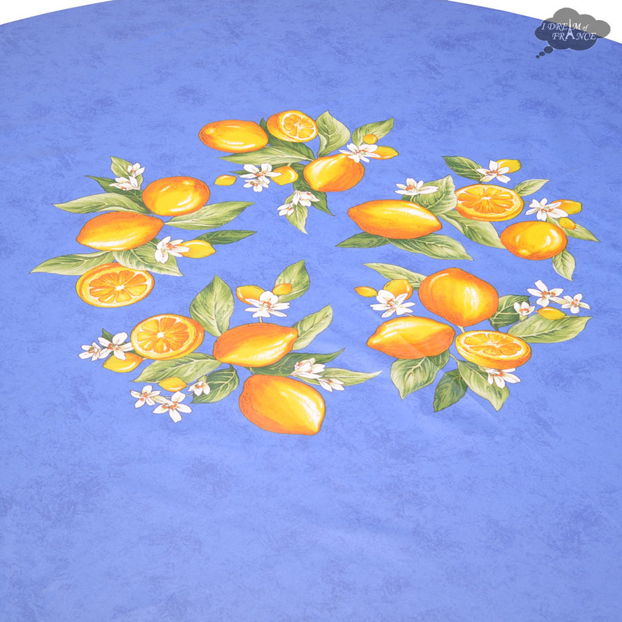 "90"" Round Lemons Blue Coated Cotton Tablecloth by Tissus Toselli"