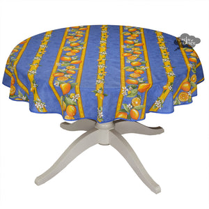 "58"" Round Lemons Blue Acrylic Coated Cotton Tablecloth by Tissus Toselli"
