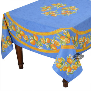 "70"" Square Round Lemons Blue Coated Cotton Tablecloth by Tissus Toselli"
