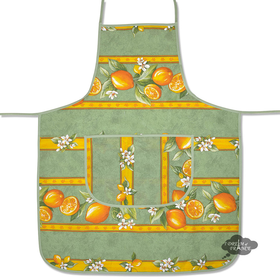 Lemons Green Cotton Kitchen Apron by Tissus Toselli