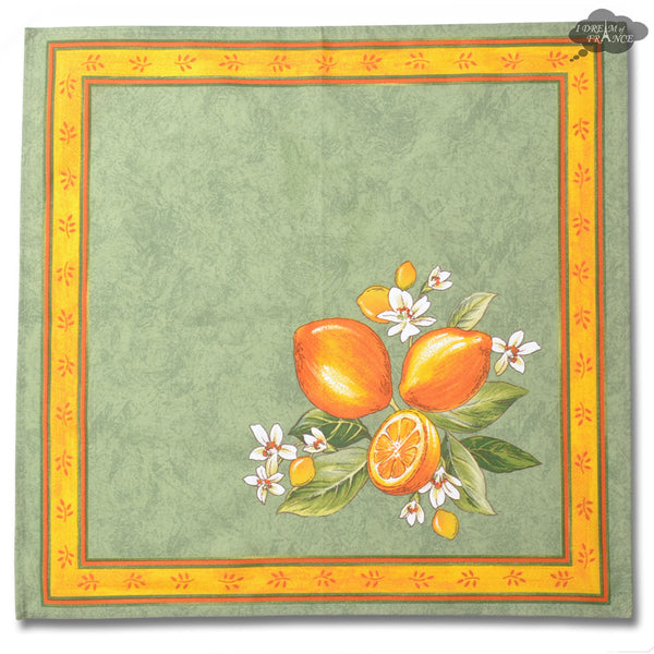 Lemons Green Provence Cotton Napkin by Tissus Toselli