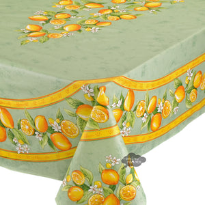 "60x 96"" Rectangular Lemons Green Coated Cotton Tablecloth by Tissus Toselli"