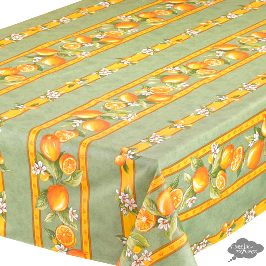 "60x120"" Rectangular Lemons Green Acrylic Coated Cotton Tablecloth by Tissus Toselli"