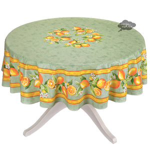 "90"" Round Lemons Green Coated Cotton Tablecloth by Tissus Toselli"