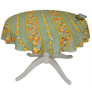 "58"" Round Lemons Green Acrylic Coated Cotton Tablecloth by Tissus Toselli"