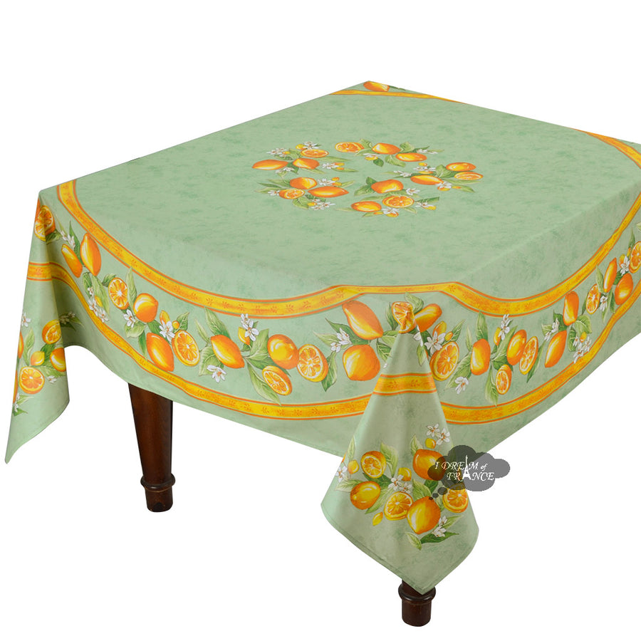 "70"" Square Lemons green Coated Cotton Tablecloth by Tissus Toselli"