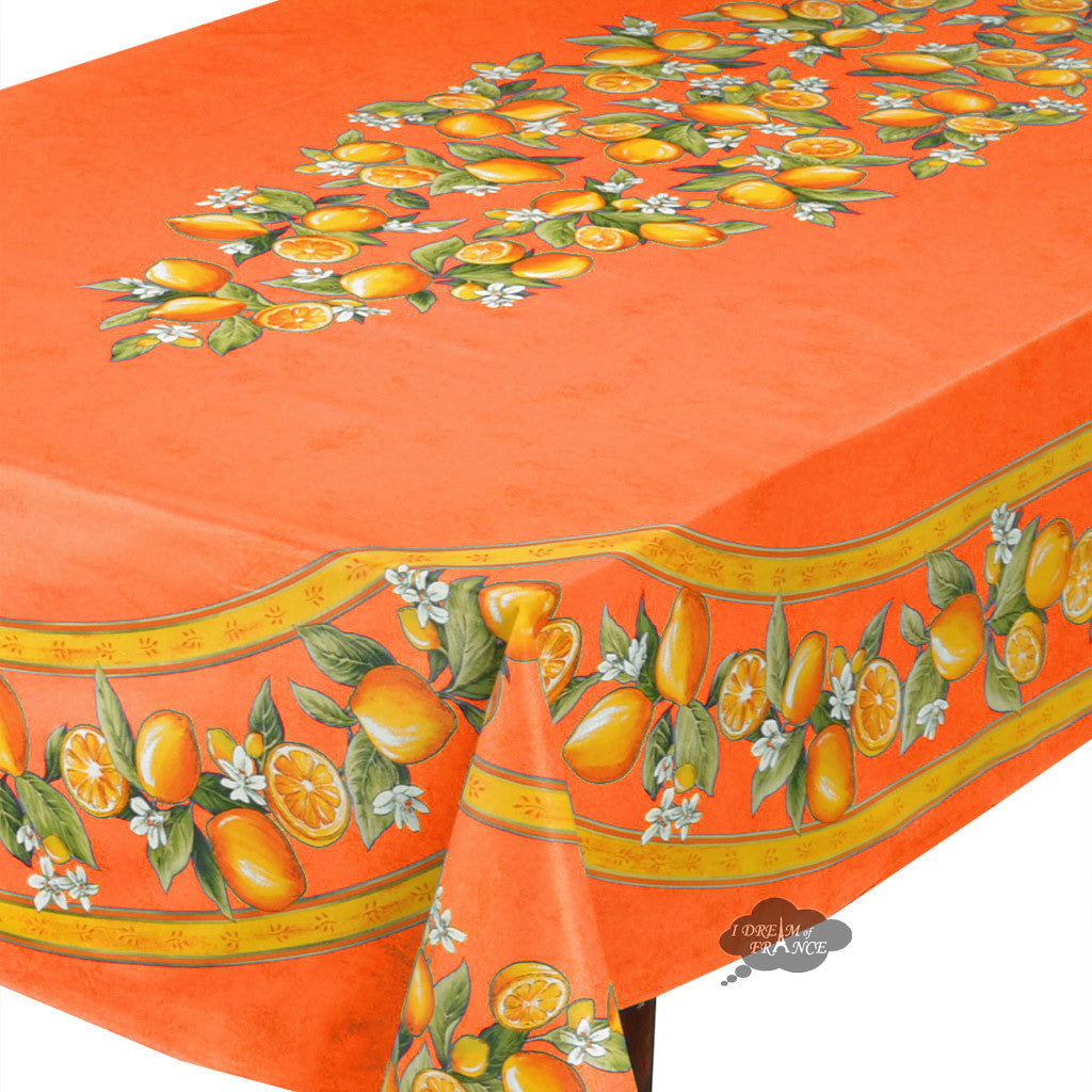 "60x 96"" Rectangular Lemons Orange Acrylic Coated Cotton Tablecloth - Close Up"